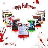 Lim Bolsa de Sangre for Halloween,Bebidas Contenedor Reutilizable Bolsa de Bebida de Jugo(10/24 Pcs),con Jeringa,para La Fiesta de Halloween Zombie Cosplay del Vampiro (24 pcs)