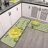 Juego de 2 alfombras y alfombrillas de cocina Isabella gris, amarillo Redouté Rose antideslizante alfombra de piso de cocina suave alfombra de baño