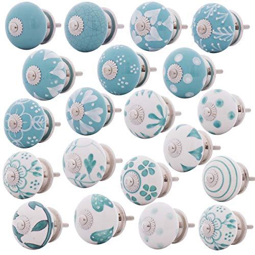 Set di 20 pomelli per mobili, in ceramica, in diversi colori, dipinti a mano, stile shabby chic, vintage