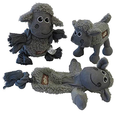 ALL FOR PAWS Große Schafherde Hundespielzeug aus Lammfellimitat mit Quietscher + Seilen 3er Pack