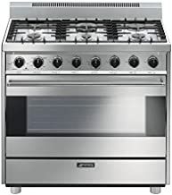 """Smeg C36GGXU 36"""" Free Standing Gas Range with 6 Gas Burners and 3 Cooking Modes, Stainless Steel"""