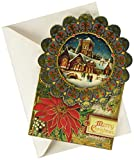 Punch Studio Cathedral Design Blue Frame Dimensional Holiday Greeting Card - Set of 12 (50346)