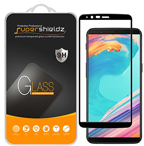 (2 Pack) Supershieldz for OnePlus 5T Tempered Glass Screen Protector, (Full Screen Coverage) Anti Scratch, Bubble Free (Black)
