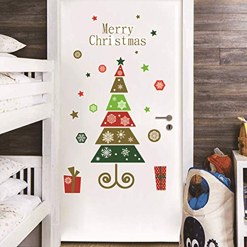 Bamsod Merry Christmas Quotes Wall Decals Happy New Year Quotes Stickers, Christmas Tree Mistletoe Stars Fireworks Candle Snowflake Wall Art for Christmas Party Supplies Window Clings Door Fridge