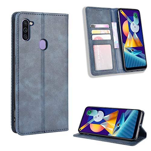 TTUDR Galaxy M11 Premium Leder Flip Schutzhülle [Standfunktion] [Kartenfächer] [Magnetverschluss] lederhülle klapphülle für Samsung Galaxy M11 - TTBYU010199 Blau