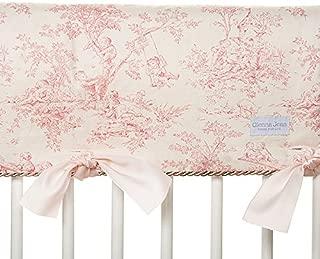 Glenna Jean Isabella Convertible Crib Rail Protector, Pink/Green/Cream, Long
