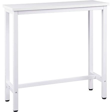 WOLTU 1 X Table de Bar Table de bistrot Structure en métal Plateau en aggloméré,Table Haute Table à Manger 100x40x100cm,Blanc BT33ws