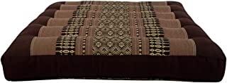 NRG Thai Massage Kneeling Pad Mat, 15 x 14 x 2.5 Inches - Firm Kneeling Cushion for Massage, Yoga & Meditation - Soft, Decorative Cotton Cover with Traditional Asian-Inspired Designs - (Tan/Chocolate)