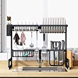 LAMPTOP Over the Sink Dish Drying Rack (Fit ≤ 26 inch Sink), Stainless Steel Drainer Organizer Shelf for Kitchen Supplies and Countertop Space Saver