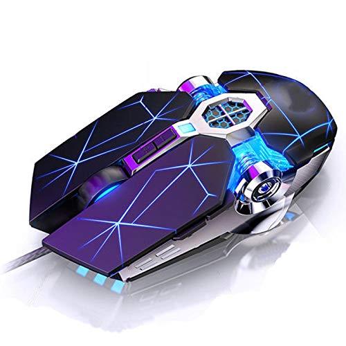 Ratón Profesional para Juegos con Cable, 6 Botones, 3200DPI, LED, USB óptico, Ratón de computadora, Ratón silencioso, Mause para PC, portátil, Gamer G3OSStarBlack