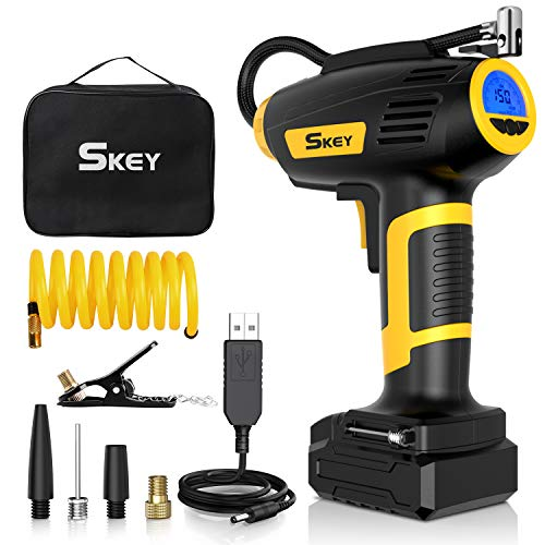 SKEY Compressore Auto, Compressore Aria Portatile 12V 150 PSI, 45L / Min con Batteria Ricaricabile 2200mAh, Controllo preciso della Pressione ± 0,5, Tubo di prolunga 1,75 M (A1)