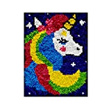 DIY Latch Hook Rug Kits, Kit de Ganchillo Alfombras para Adultos, Alfombras de Crochet Bordados en Punto de Cruz con Lienzo Impreso-Unicornio 11,8*15,7inch