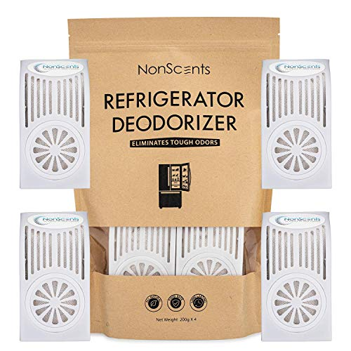 NonScents Refrigerator Deodorizer - Fridge and Freezer Odor Eliminator - Outperforms Baking Soda (4-Pack)