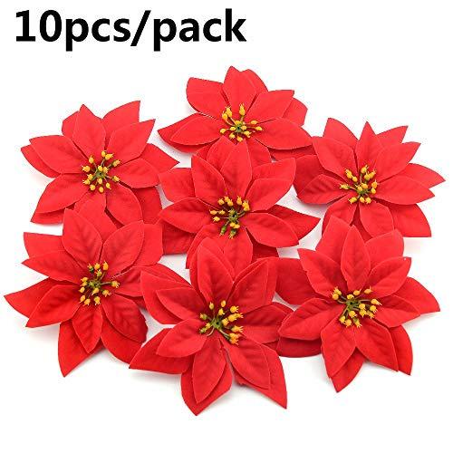 outopeno 10pcs arreglos 14cm árbol de Navidad Cabeza del Rojo del árbol de Flores Artificiales del Poinsettia Decorativo de Navidad Adornos Florales Floral de Seda de Bricolaje de Vacaciones
