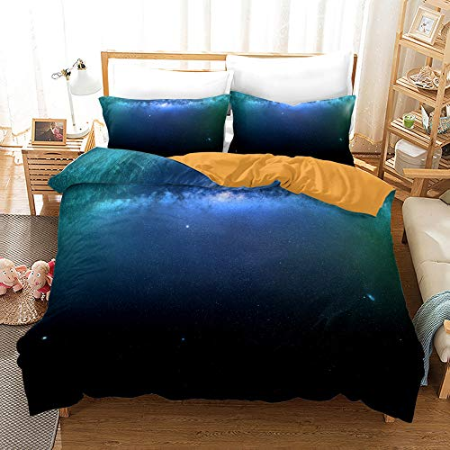 Juego de cama 3D Universum con diseño de cielo estrellado romántico, 3 piezas, 100% microfibra, funda nórdica para hotel,funda de edredón antimanchas (A-02,220 x 240 cm (50 x 70 cm)