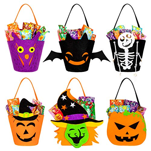 Whaline 6 Pack Halloween Candy Holder Bucket Trick or Treat Baskets with Handle Pumpkin Witch Bat Skeleton Tote Goodie Gift Bags for Kids Halloween Party Favors (6 Designs)