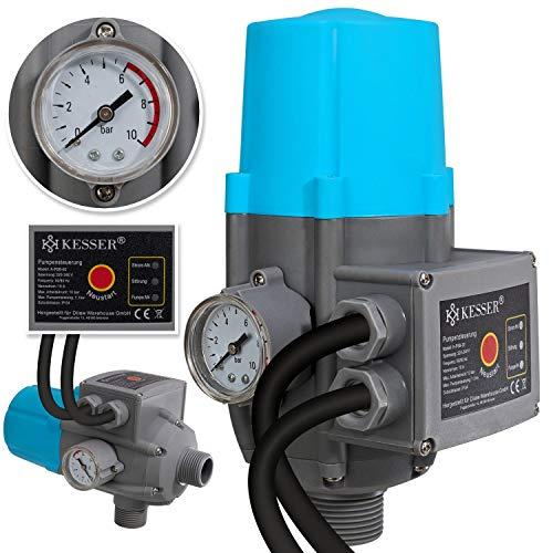 KESSER® Pumpensteuerung mit Baranzeige | mit Kabel | 10 bar Druckwächter Elektronische Pumpensteuerung | Druckschalter | überwacht den Wasserdruck - automatisches Ein- und Ausschalten Garten & Haus