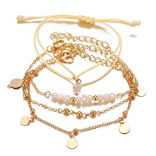 Sxgyubt 4 Stks/set Dames Armband Parel Ronde Kralen Retro Eenvoudige Stijl Armband Gouden