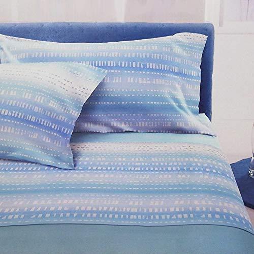 Bassetti Juego de sábanas para cama de matrimonio de 2 plazas, 100% algodón, parte superior + sábana bajera + 2 fundas de almohada, fabricado en Italia (Alvin Azul)
