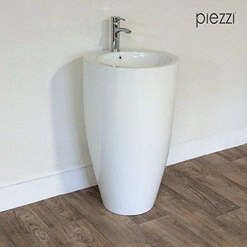 Piezzi Vasque sur Pied, Totem Rond en céramique Blanche - Oréa