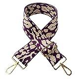 YueLian 3 cm di larghezza Leopard - Tracolla per borsa a tracolla di ricambio (Lila)