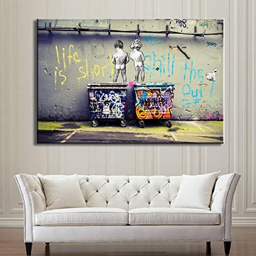 DCLZYF Life Is Short Chill The Duck out Graffiti Art Lienzo Abstracto Pintura Carteles e Impresiones Arte de Lienzo de Pared Decoración para el hogar-60x80cm (sin Marco)