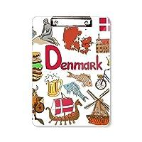 デンマークの風景の動物の国旗 フラットヘッドフォルダーライティングパッドテストA4