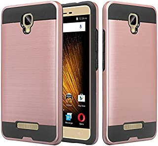 BLU Vivo XL2 case, SOGA [Brush Series] Shock Absorption/Drop Protection Dual Layer Hard Slim Hybrid Armor Phone Case for BLU Vivo XL2 V0070UU - Rose Gold