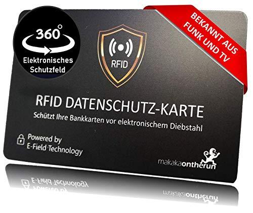 MakakaOnTheRun RFID Blocker Karte: 3fach geprüfter RFID Schutz (0,8mm, bis 9cm NFC Schutz) gegen NFC Funkdiebstahl & Datenklau. Stärkste elektron. RFID Blocker Karte. Bekannt aus TV & Radio!