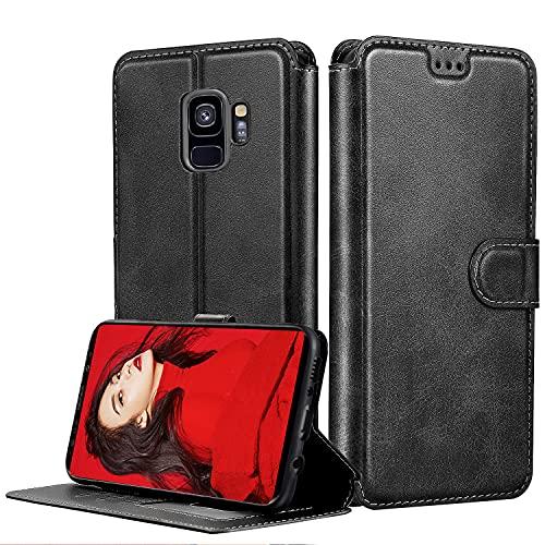 LeYi Funda para Samsung Galaxy S9,Carcasa Libro Tapa Silicona Bumper Cuero Cartera Case Flip Cierre Magnético Leather Soporte Wallet Antigolpes Cover para Movil Samsung S9,Negro