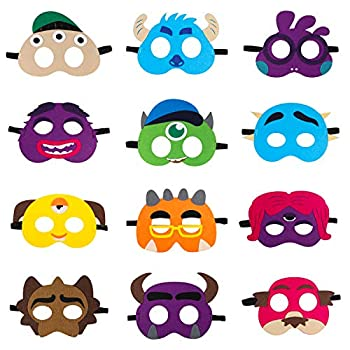 MALLMALL6 12Pcs Monster Felt Masks Monster Themed Creative Birthday Party Supplies Little Monster Baby Shower Dress Up Costumes Monster fan Party Favors Cosplay Photo Booth Props for Kids Boys Girls