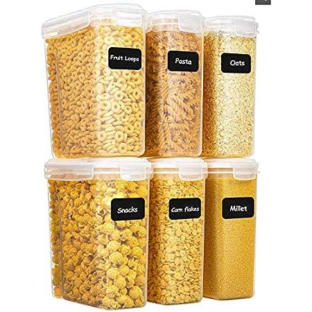 Yangbaga 6 pcs 4L Boîte de Conservation des Alimentaires, Boîte de Rangement de Cuisine avec Couvercle, Étiquette et Marqueur, Convient pour Le Stockage de Cuisine.…