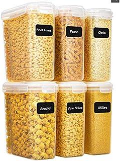 Yangbaga Lot de 6 4L Grands Boîte de Conservation des Alimentaires, Boîte de Rangement Cuisine avec Couvercle,Bocaux Herme...