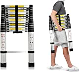 2020 3.8m Telescopic Ladder Extendable Multi-Purpose Foldable Ladder Extension 13 Step for Office Home Loft