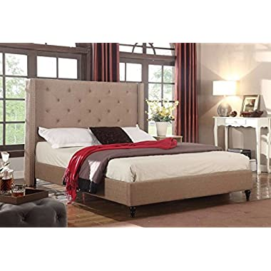 Home Life Premiere Classics Cloth Light Brown Linen 51  Tall Headboard Platform Bed with Slats King - Complete Bed 5 Year Warranty Included 007