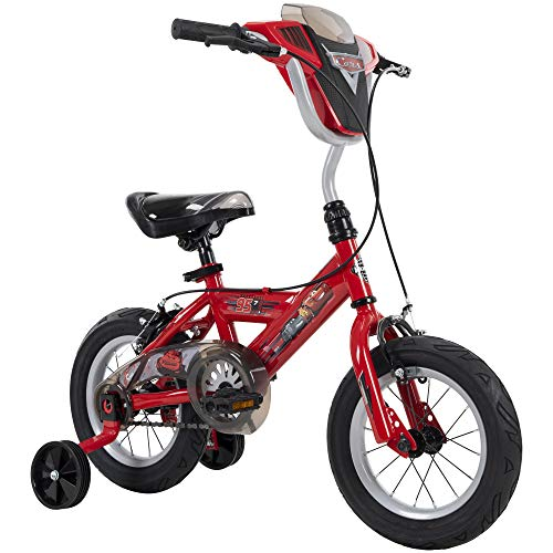 """Huffy Disney Cars Kid Bike Quick Connect Assembly, Handlebar Plaque w/Sounds & Training Wheels, 12"""" Red"""