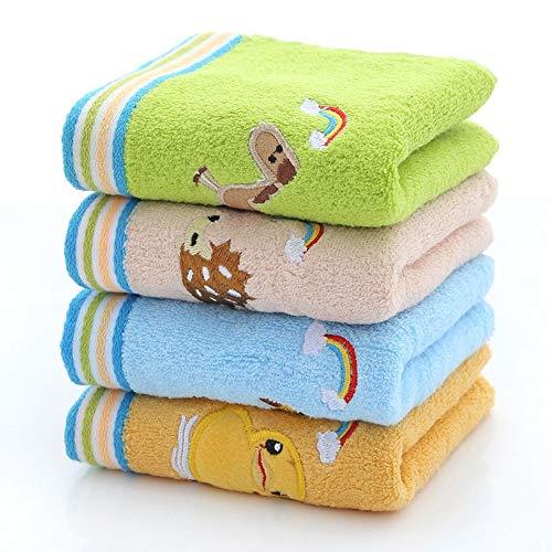 TDPYT 4 Stücke/Kinder Handtuch Reine Baumwolle Cartoon Bestickte Kindertuch Kindertuch 50 * 26 cm