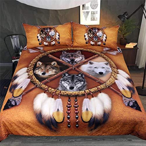 ZMK-720 Wölfe Bettwäsche Set Native American Indian Wolf Bettbezug Western Wild Animal Tribal 3D Bettbezug 3 Stücke @ 228 * 228 cm