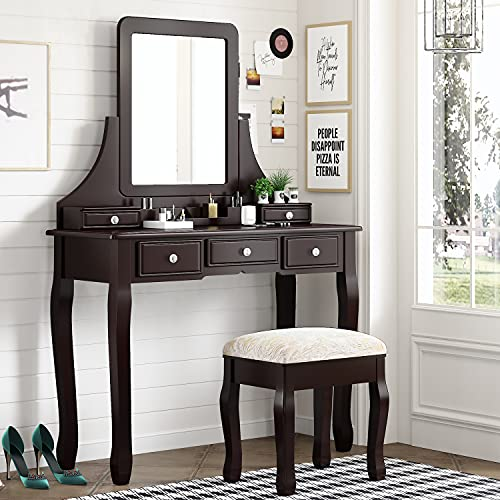 Amolife Vanity Makeup Set with 5 Drawers, Dressing Table with Removable Mirror and Cushioned Stool, Makeup Desk, Solid Wood Legs, Crystal Knob, Brown