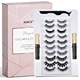 Aliceva Magnetic Eyeliner and Lashes by Aliceva, Magnetic Eyelashes Kit, 10 Pairs Reusable Magnetic Eyelashes & Magnetic Eyeliner with Tweezers