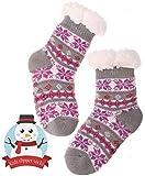 Girls Boys Slipper Socks Child Warm Fuzzy Fluffy Soft Fleece Lined Plush Thick Sherpa Winter Kids Socks(Grey,5-9 Y)