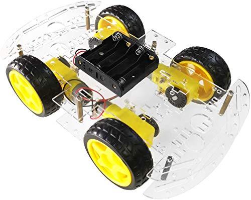 AptoFun 4WD Motor Smart Car Chassis für Arduino- mit 4 Getriebemotor(DC 3V-6V/1:48) und Batteriebox
