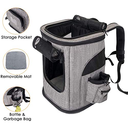 L, black 3 Mesh Windows RC GearPro Pet Carrier Backpack- for Small Dogs and Cats Portable Pet Outdoor Travel Bag Water Bottle and Storage Pouches