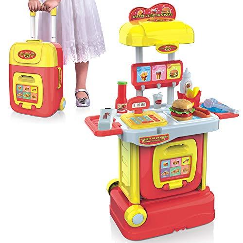 BAKAJI Cassa Fast Food Cucina Giocattolo per Bambini Portatile Richiudibile a Trolley Valigetta con Pistola Scanner Funzionante Luci e Suoni e Accessori di Gioco