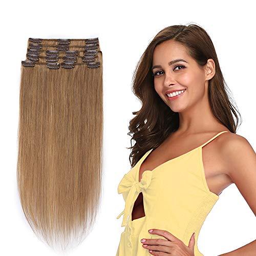 Extension a Clip Cheveux Naturel Type Fin - Rajout Vrai Cheveux Humain - 8 Bandes (#12 Marron clair, 50 cm (70 g))