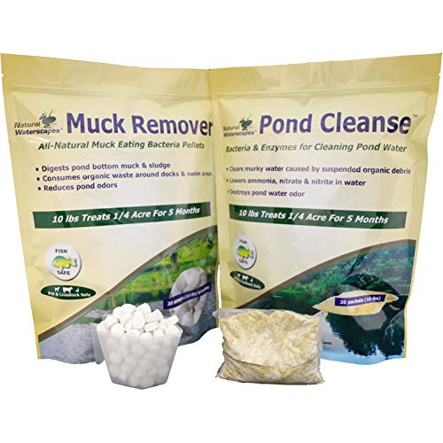 Natural Pond Cleaner Pack | Pond Clarifier Packets & Muck Reducer pellets | Farm Pond Treatment