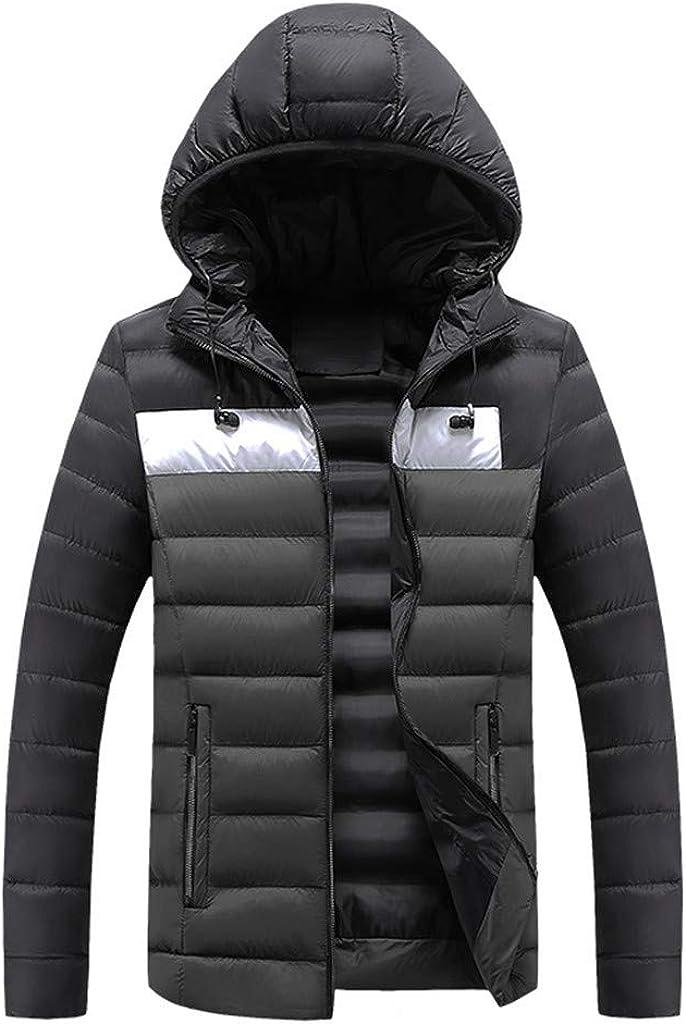 Ellymi Men's Heavy Packable Puffer Down Jacket Winter Water-Resistant Hooded Coat Windproof Outdoor for Winter Parka