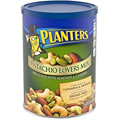 PISTACHIO LOVERS MIX: Snack smart with Planters Deluxe Pistachio Mix. The mixed nut snack has a satisfying rich taste and contains a mix of pistachios, almonds and cashews PLANTERS NUTS: This 18.5 ounce resealable canister of Planters Deluxe Pistachi...