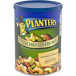 PLANTERS Pistachio Lover's Mix, 1.15 lb. Resealable Canister | Deluxe Pistachio Mix: Pistachios, Almonds & Cashews Roasted in Peanut Oil with Sea Salt | Kosher, Savory Snack