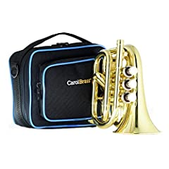 Smallest Bb trumpet in the world Yellow brass bell, stainless steel valves, gold lacquer Easy to carry, Easy to play Play in tune, beautiful sound Gift for trumpet player